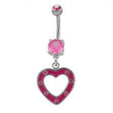 Belly button ring mit einem pinken Herz und Zirkonen