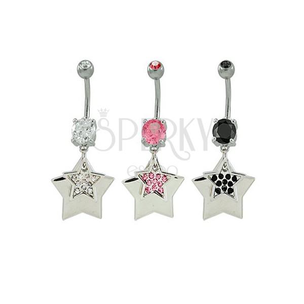 Bauchnabelpiercing mit Sternen und Zirkonen