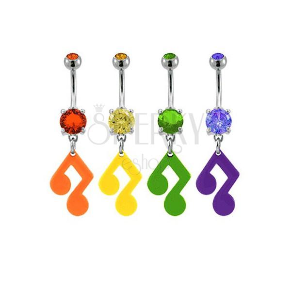 Bauchnabelpiercing - Musiknote mit Zirkon in verschiedenen Farben