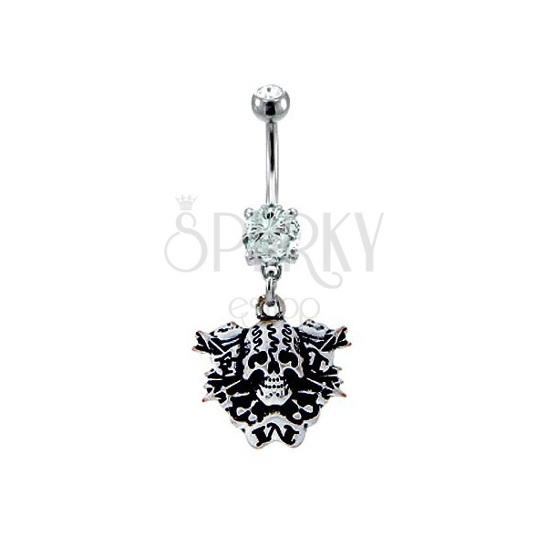 Belly button ring - ein Schädel