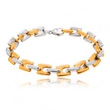 Edelstahlarmband, glänzende H-Glieder in goldener und silberner Farbe