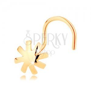 nasenpiercing aus 14k gelbgold gew lbte blume glatt und. Black Bedroom Furniture Sets. Home Design Ideas