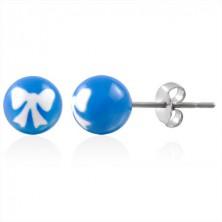 Ohrringe in Form von Kugeln - blau mit weißem Muster