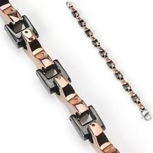 Armband aus Chirurgenstahl - zweifarbig, schwarze und kupferfarbene Glieder