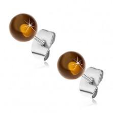 Edelstahlohrstecker, halbdurchsichtige gelbbraune Kugeln, 6 mm
