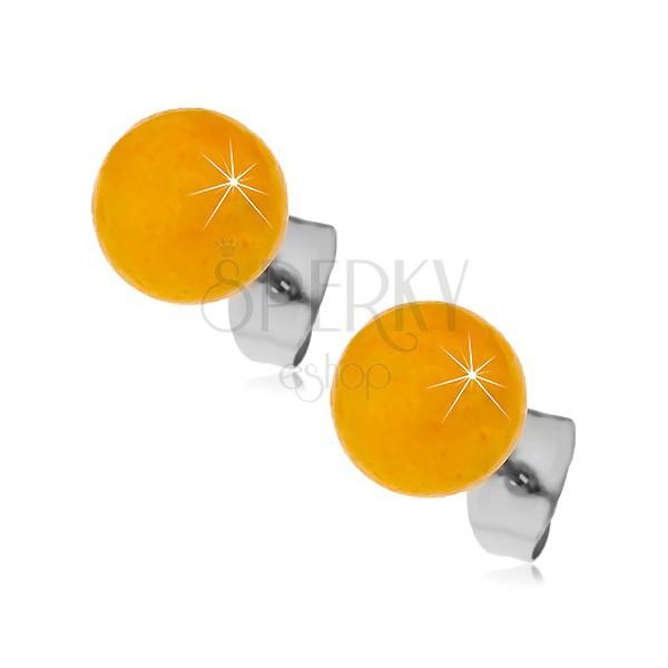 Silberfarbene Edelstahlohrstecker, orangengelbe Kugeln, 8 mm
