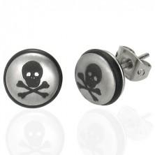 Silberfarbene Edelstahlohrringe, Kugel mit Totenkopf und schwarzem Gummi