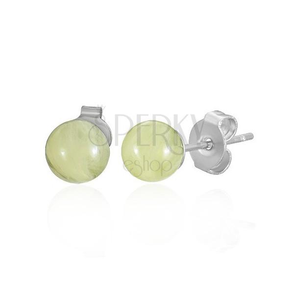 Ohrstecker aus Chirurgenstahl - gelbe Bernsteinkugeln, 6 mm