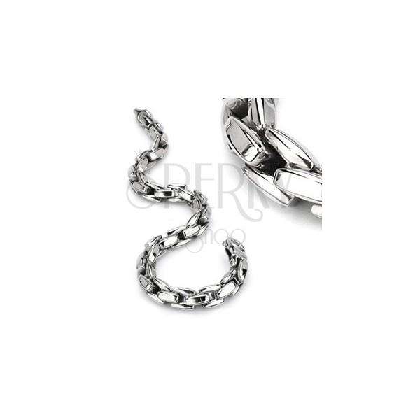 Armband aus 316L Stahl, silberfarbene Kette aus kantigen Gliedern