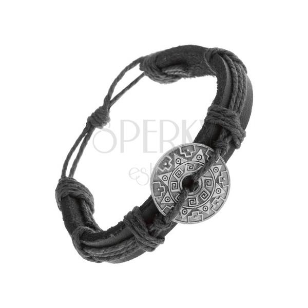armband aus schwarzem kunstleder und kordeln kreis mit muster und ausschnitt schmuck eshop de. Black Bedroom Furniture Sets. Home Design Ideas