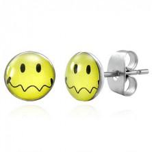 Ohrstecker aus Stahl - gelber Smiley mit gewelltem Mund