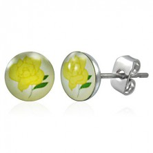 Ohrringe aus rostfreiem Stahl - gelbe Rose
