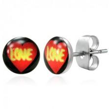 Ohrringe aus Chirurgenstahl - Herz mit Aufschrift LOVE