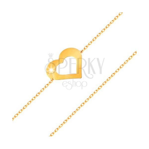 armband aus 14k gold feine kette flacher herzumriss glatt und gl nzend schmuck eshop de. Black Bedroom Furniture Sets. Home Design Ideas