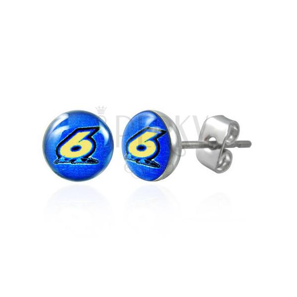 Runde Stahlohrringe – Nummer Sechs auf einem blauen Hintergrund, klare Glasur, Ohrstecker