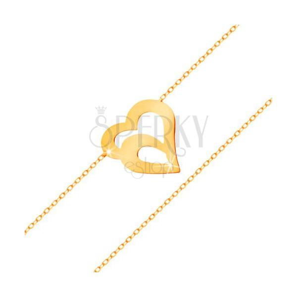 585 goldarmband feine kette aus ovalen gliedern doppelte herzkontur schmuck eshop de. Black Bedroom Furniture Sets. Home Design Ideas