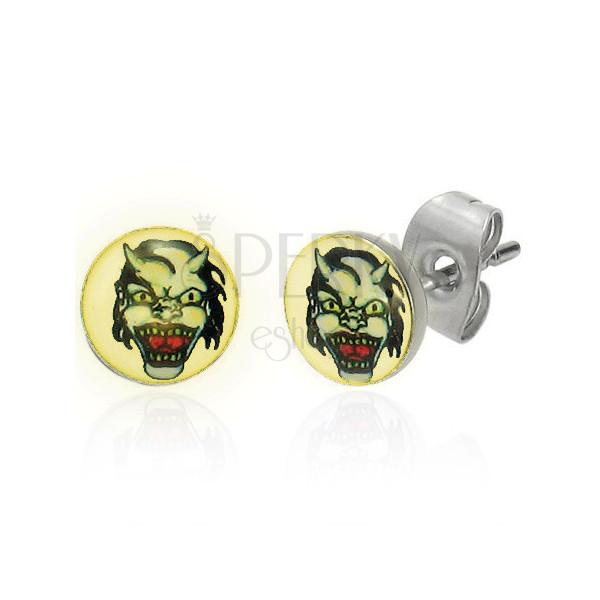 Stahl Ohrringe – Teufelsgesicht mit Hörnern, heller Hintergrund, klare Glasur, Ohrstecker