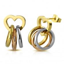 Stahlohrstecker, dreifarbige Ringe an glänzender Herzkontur