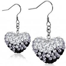 Schwarz-weiße Ohrringe aus Chirurgenstahl, glänzendes Herz mit Zirkonia