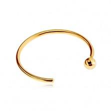 Nasenpiercing in 585 Gelbgold - glänzender Ring mit Kugel beendet