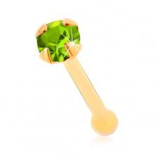 14K Gelbgoldnasenpiercing - hellgrüner glitzernder runder Zirkon, 1,5 mm