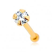 9K Goldpiercing für die Nase - klarer glänzender Zirkon, 1,5 mm
