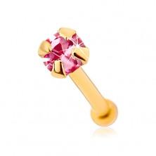 375 Goldnasenpiercing, gerade - glänzender rosafarbener Zirkon, 1,5 mm