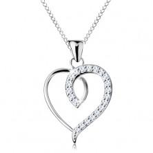 925 Silbercollier, asymmetrischer Herzumriss mit glitzernder Hälfte
