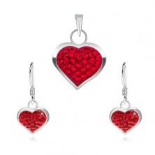 925 Silberset - Ohrringe und Anhänger, gliterndes Herz mit roten Zirkonia besetzt