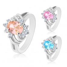 Glänzender silberfarbener Ring, großes farbiges Oval, schmale Bogen, klare Zirkonia