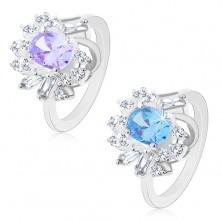 Silberfarbener Ring, großer ovaler Zirkonia, rechteckige und runde Schmucksteine