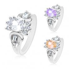 Silberfarbener Ring, geschliffener farbiger ovaler Zirkonia, rechteckige und runde Steine