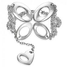 Stahl Armkette - Schmetterling und Herz