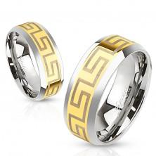 Ring aus Chirurgenstahl, Mittelstreifen in goldener Farbe, Griechischer Schlüssel, 8 mm