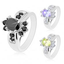 Silberfarbener Ring, farbiger ovaler Zirkonia, runde klare Schmucksteine