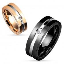 Ring aus Chirurgenstahl, kupfer- und silberfarben, runder klarer Zirkonia, 6 mm