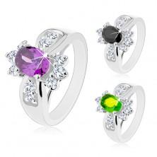 Ring mit breiter Ringschiene, farbiges großes Zirkoniaoval, runde klare Zirkoniasteine