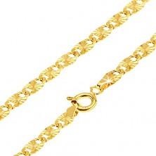 Goldkette - flache längliche Glieder, strahlendförmige Rillen, 540 mm