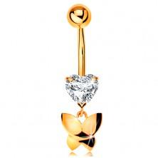 Goldenes 585 Piercing für Bauchnabel - klares geschliffenes Herz, hängender Schmetterling