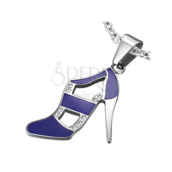 Violetter Damenschuh Anhänger aus Edelstahl