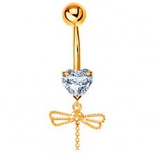 585 Goldpiercing für Bauchnabel - klares Herz, hängende Libelle mit beweglichem Schwanz