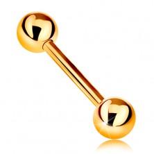 14K Gelbgoldpiercing - glänzendes Barbell mit zwei glanzvollen Kugeln, 12 mm