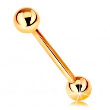 Piercing aus 9K Gelbgold - Barbell, zwei glatte glänzende Kugeln, 18 mm