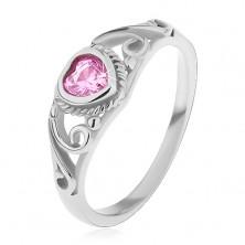 Kinderring aus 316L Stahl, rosa Zirkoniaherz, Ringschiene mit Ornament