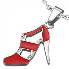 Kettenanhänger aus Stahl - roter Tanzschuh