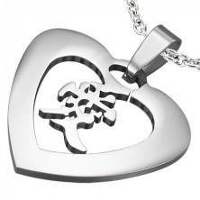 """Stahl Anhänger in silberner Farbe - Herz mit dem chinesischen Zeichen für """"Liebe"""""""