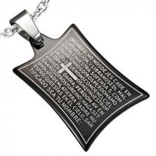 Stahlanhänger - Gebet und Kreuz