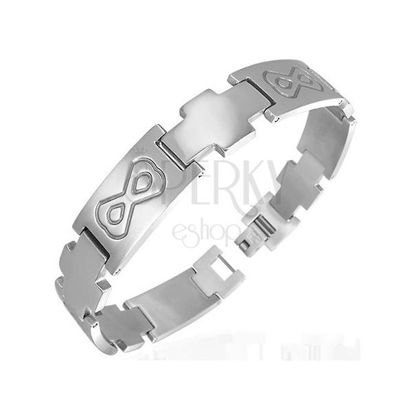 Armband aus Edelstahl verziert mit Maske, Kreuze
