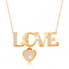 Funkelndes goldenes 375 Collier - ovale Glieder, Aufschrift LOVE und Herz