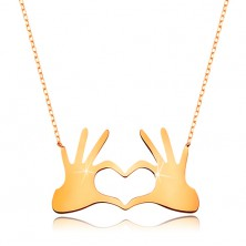 Collier aus 9K Gelbgold - Herz aus zwei verbundenen Händen, feine Kette